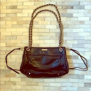 Black Leather Gold chain strap Rebecca Minkoff Bag